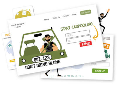 Drive Roger Drive [web] carpool carpooling eps svg web design web illustrations travel car drive web pack flat ui character design ai vector download character illustration