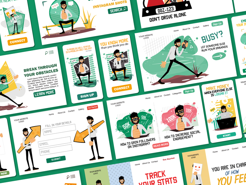 Rogerio Illustrations Pack thumbs up business man illustrations man male mobile ui web illustrations eps svg ui design pack ai flat vector character design download character illustration