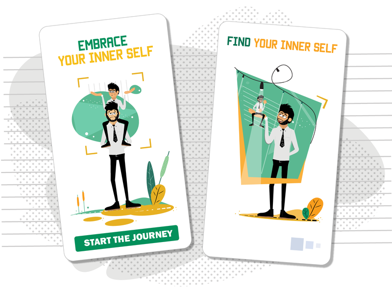 Finding Your Inner Self  [mobile Rogerio] web illustrations mobile illustration mobile ui illustrations svg man male character ui pack download vector ai design character design illustration character flat
