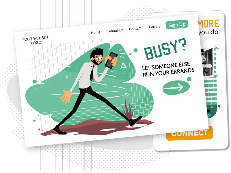 Busy? [Rogerio Illustrations Pack] male character busy vector illustration web design web illustrations web errands male man ui svg ai pack illustration vector download character design flat character