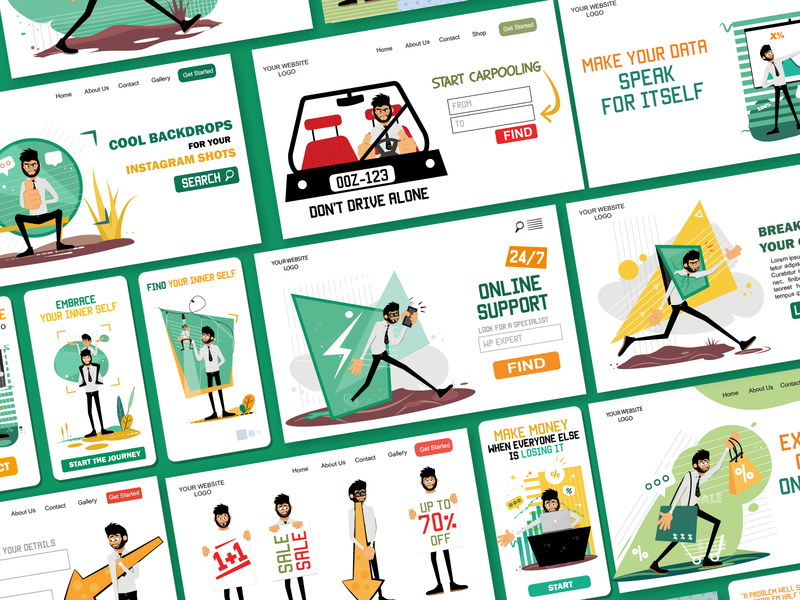Rogerio Illustrations Pack [140 poses/concepts] illustrations web ui mobile ui man male character web illustrations characterillustration characterdesign svg ui pack character design flat ai vector download character illustration