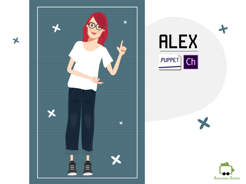 Alex - Puppet for Adobe Character Animator adobe character animator 2d female girl woman motion capture customizable ai flat character animation download vector illustration puppet character animator character design character