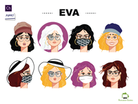 Eva and her accessories ....[CH] character illustrations character art face mask woman female character animation accessories faces character illustration 2d ai flat download vector character illustration character design character animator adobe character animator puppet