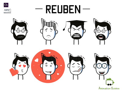 Reuben Facial Expressions sick angry happy emotions cartoon stick figures stick figure facial expressions expressions 2d vector faces flat download puppet ai illustration character character animator character design
