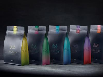 Tricycle roastery packaging coffee packaging coffee bag coffee brand 3d packaging design illustration beverages branding packaging