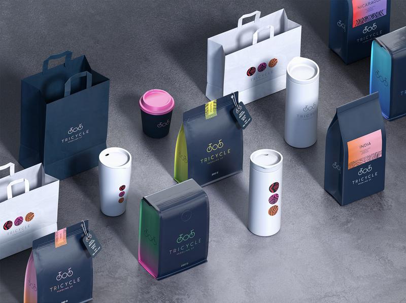 Tricycle roastery packaging coffee packaging coffee bag 3d coffee brand packaging design illustration beverages packaging branding