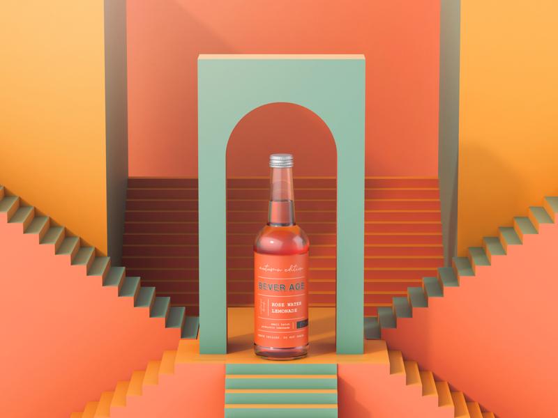 Bever Age Rose Water design 3d packaging design illustration beverages packaging branding
