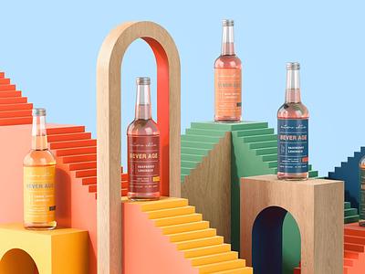 Bever Age branding design 3d packaging design beverages packaging branding