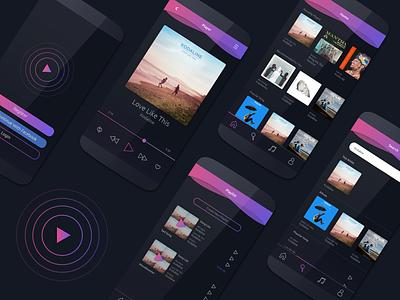 Music Player UI Design minimal flat design app ux ui illustration