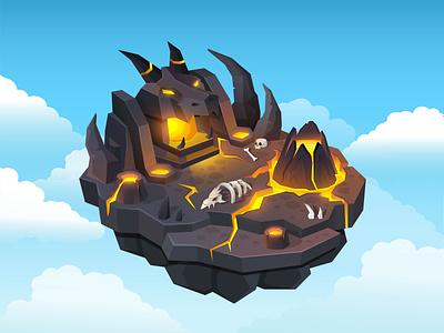 Volcano island for game drangon rock stone lava isometric isolated illustration design artwork art vector hell island skull bone volcano hell islands game game ui island
