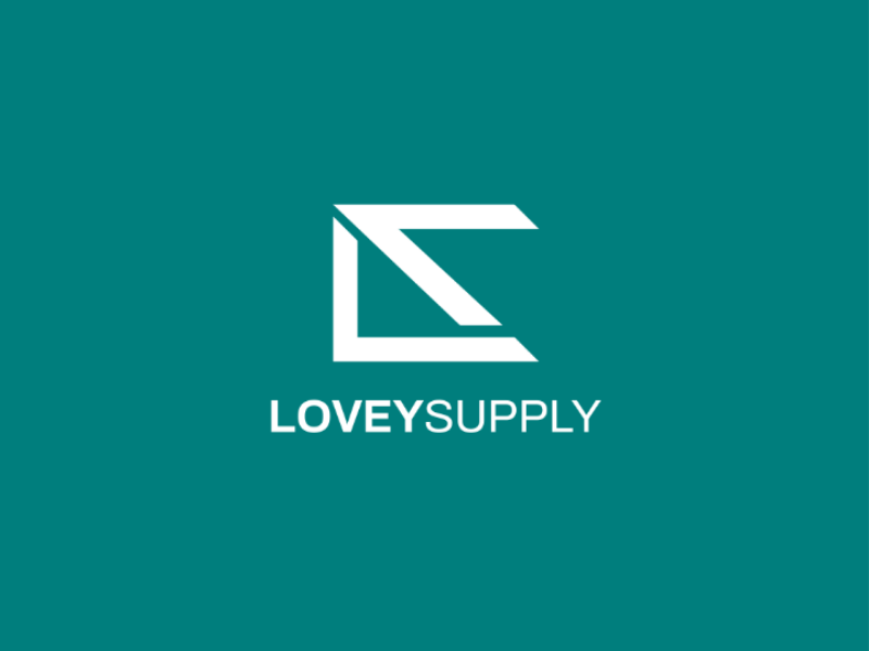 Lovey supply logo vector type identity icon flat design clean branding