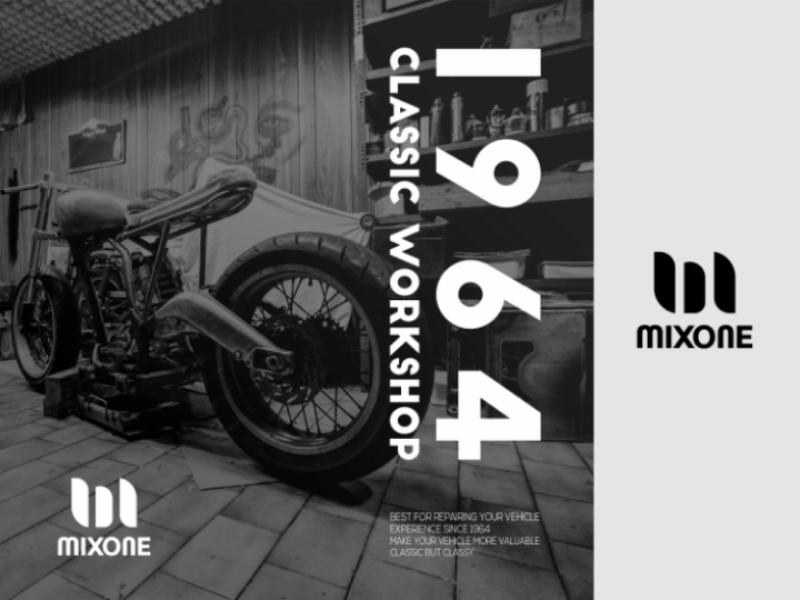 Mixone logo vector type identity icon flat design clean branding