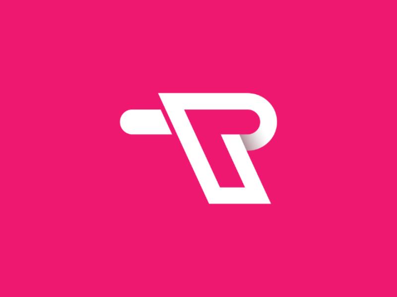 P + T  logo concept minimal flat typography branding vector logo design