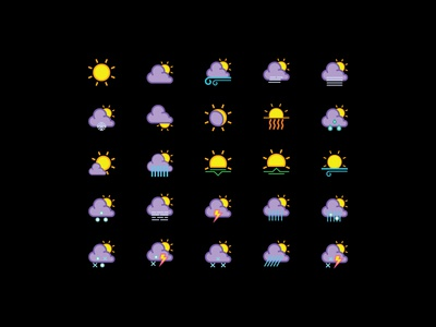 Color Weather Forecast Icon Collection