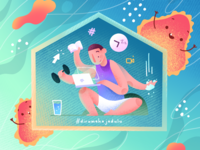 Work From Home dirumahajadulu stayhome procreate drink activity health bactery virus online meeting remote work design gradient illustration
