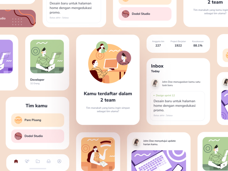 Office Management App ui kit project empty states pop up team work team stats graph social cards dashboard mobile app icons ios illustration