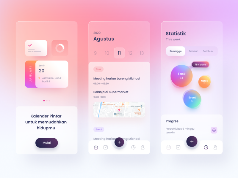 Smart Calendar App task to-do list productivity calendar candy blur glass stats chart graph cards dashboard gradient app icons ios