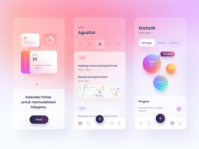 Smart Calendar App task to-do list productivity calendar candy blur glass stats chart graph cards dashboard gradient app icons ios