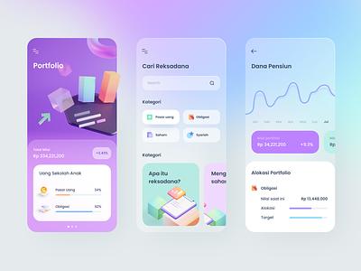 Investment Advisor App chart money investment graph model blender 3d cards dashboard gradient mobile app icons ios illustration
