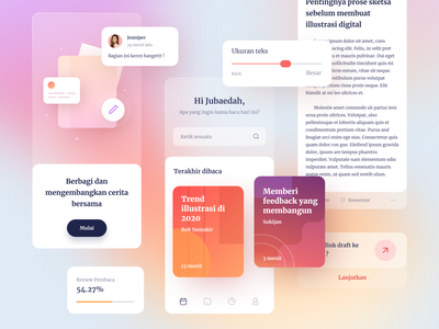 Story Sharing App ui kit discover book read writing story blur glass cards dashboard gradient mobile app icons ios