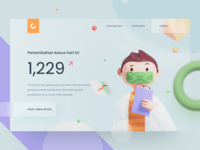 Covid-19 Daily Report Landingpage blender 3d render virus corona stats report stay home mask doctor character 3d model blender 3d design cards illustration