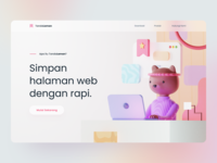Bookmark Management App Landing Page figma blender 3d model cute monster character 3d cat bear desktop web landing page bookmark