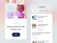 Bookmark Management App productivity animal character bear interaction tags cards discover web app mobile blender 3d modelling 3d illustration intro onboarding ios
