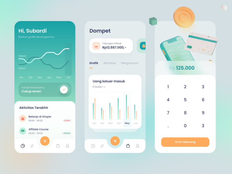Wallet App teal blur blender 3d model 3d stats chart graph cards dashboard gradient mobile app icons ios