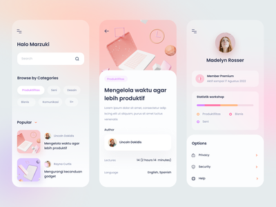 Online Course App pantone pastel clean blender modelling 3d model 3d productivity workshop cards dashboard gradient mobile app ios icons illustration