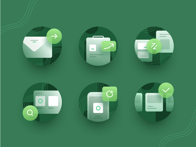 Feature Icons clipboard discover landingpage mobile phone check transfer copy iconset chart social cards app icons illustration