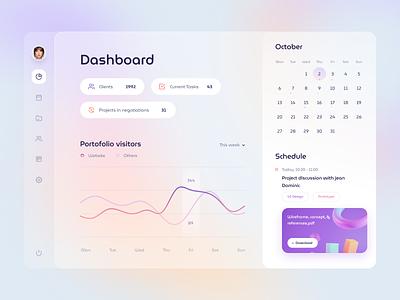 Project management Dashboard blender account calendar illustrations web stats chart social graph cards dashboard gradient app