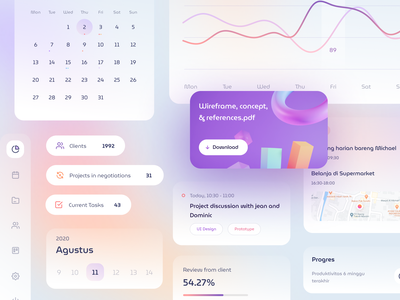Glass UI Elements calendar map ui modern elements kit web stats chart graph cards dashboard gradient mobile app icons illustration