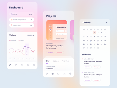 Project management Dashboard Mobile schedule inbox calendar stats chart social graph dashboard gradient mobile app icons ios illustration