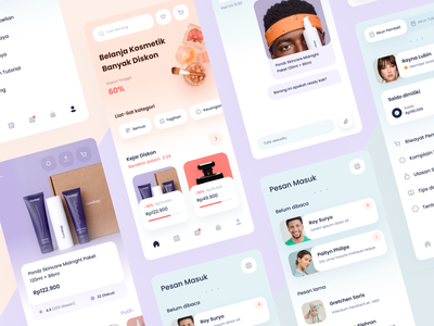Commerce App Screens Exploration products page discussion messages sell buy sales product web chart graph cards dashboard gradient mobile app icons ios