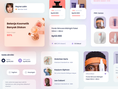 Commerce UI elements marketplace cosmetic commerce buy sell sales product chart social graph cards dashboard gradient mobile app icons