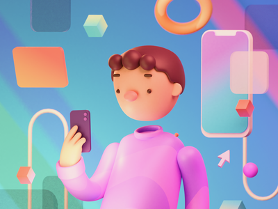 Mobile App 3d Illustration 3d modeling blender 3d interaction people human cards gradient mobile app illustration