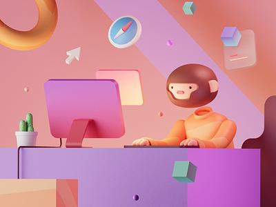 Wesbite & Landingpage 3d Illustration human monster animal character monkey blender responsive desktop cards dashboard gradient illustration