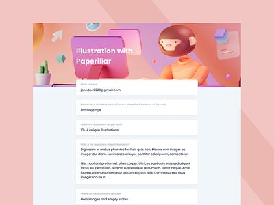 Internal Form Redesign cards human character monkey animal blender 3d illustration 3d website desktop web form text field illustration