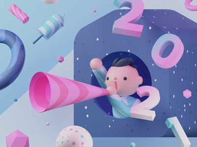 Happy New Year 2021 fireworks human 3d modeling blender 3d abstract celebration eve new year cards gradient illustration