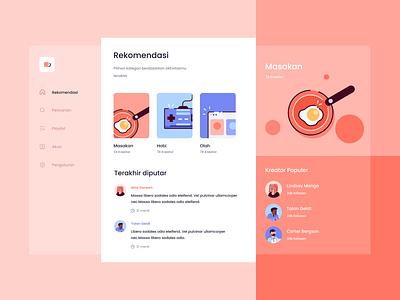 Podcast App Dashboard food avatar hobies desktop web stats social dashboard cards app icons illustration