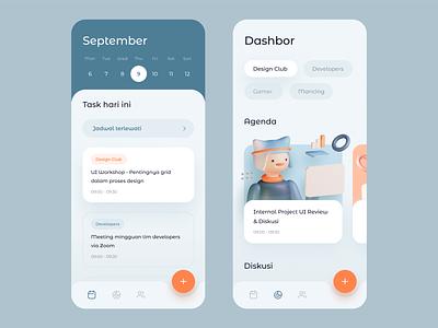 Calendar App Exploration 3d model blender 3d graph dashboard cards gradient mobile app ios icons illustration