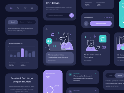 Workshop App UI Elements dog animal stats chart graph dashboard cards mobile icons illustration
