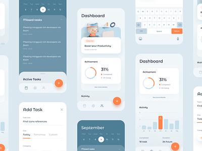 Sayki Productivity & Calendar App Case Study clean simple minimal icons cards graph chart web design ux ui website dashboard mobile app illustration