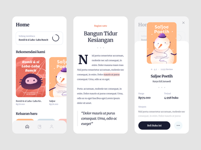 Book Reader App marketplace typography clean shop reader ebook ux ui mobile app icons illustration