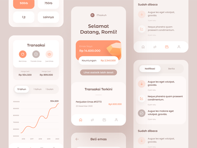 Gold Investment App ui ux app investment app finance fintech investment stats chart design icons cards dashboard mobile ios illustration