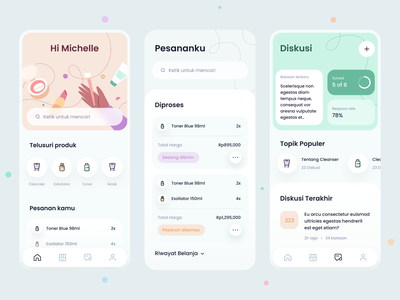 Beauty & Face Care App medical consultation women beauty discussion forum shop marketplace dashboard mobile ios app icons illustration