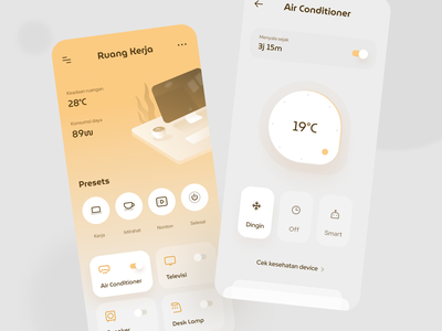 Smarthome App Exploration pie smart home stats air conditioner device wiffi smarthome cards dashboard mobile ios app icons illustration