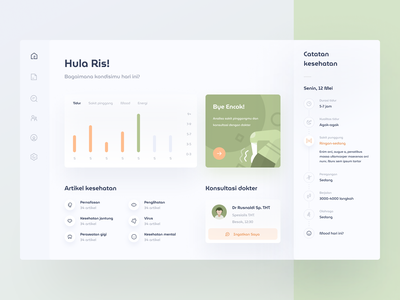 Health Journal Dashboard journal doctor medical health chart graph graphic stats design cards icons illustration web dashboard
