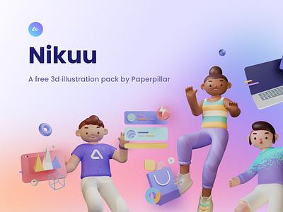Nikuu - a Free 3d Illustration pack free 3d blender community figma kit pack illustrations design icons illustration