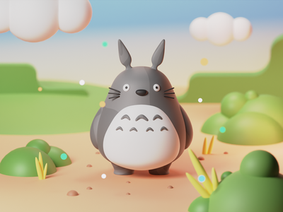 My Neighbor Totoro - 3d Illustration cute monster character ghibli totoro blender 3d illustration
